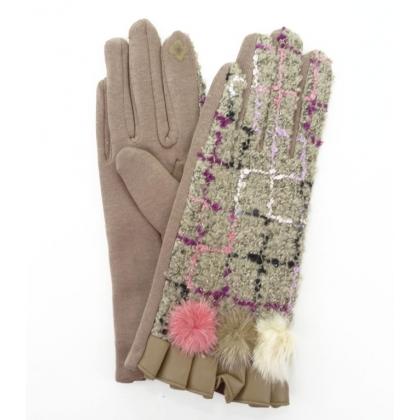 Дамски ръкавици от текстил и кожа, 3023-1