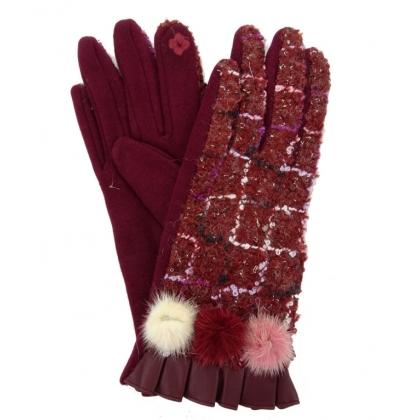 Дамски ръкавици от текстил и кожа, 3023-2