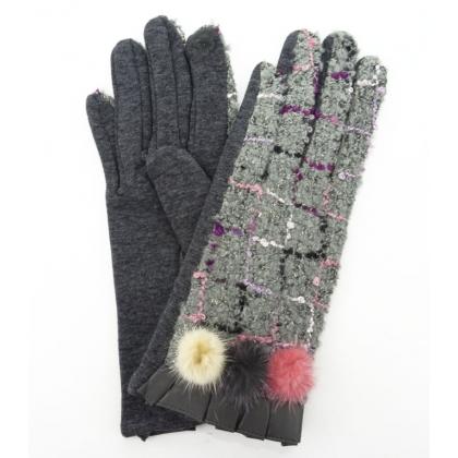 Тактилни дамски ръкавици с пухче, 3023-3