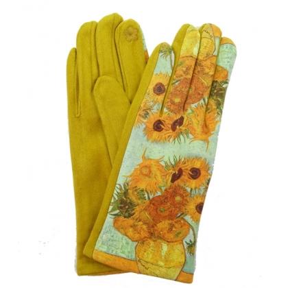 Дамски ръкавици от плат с апликация 5501