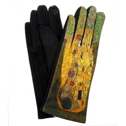 Дамски ръкавици от текстил с апликация, 5501-1