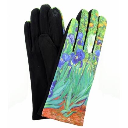 Тактилни дамски ръкавици от плат с апликация 5501-2