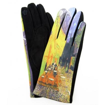 Тактилни дамски ръкавици от плат с апликация 5502-3