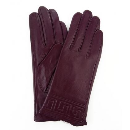 Ръкавици от естествена кожа в цвят бордо, 9032
