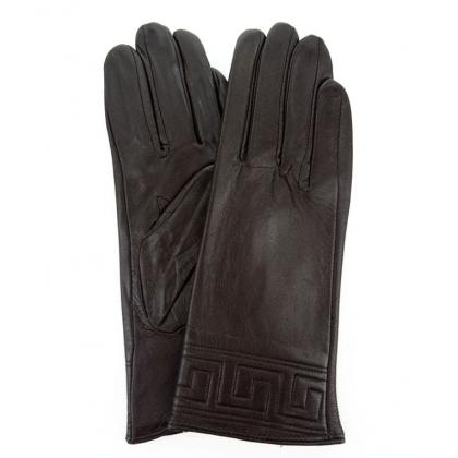 Тъмнокафяви ръкавици от естествена кож