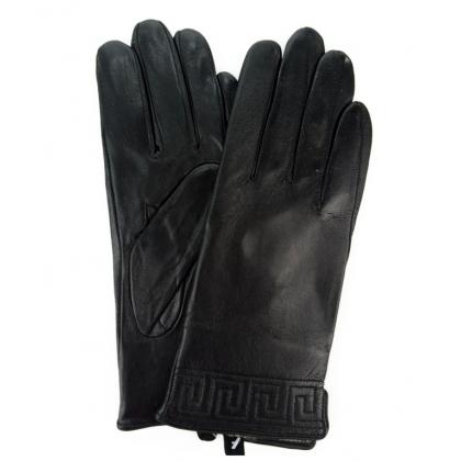 Кожени дамски ръкавици в черно, 9032-2