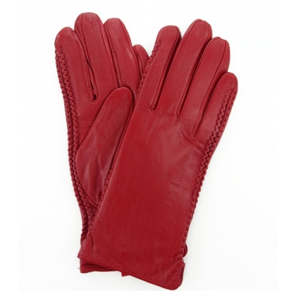 Червени ръкавици от естествена кожа