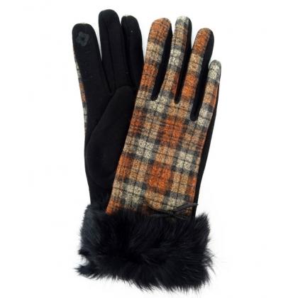 Дасмки ръкавици от плат с косъм, 2109-1