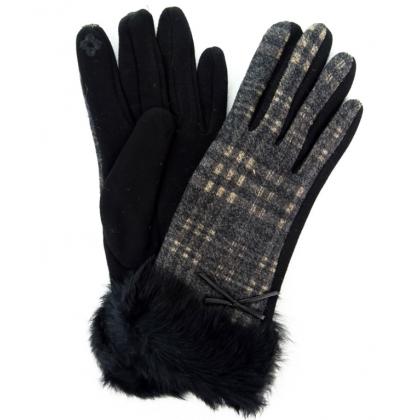 Дамски ръкавици от текстил с косъм, 2109-2