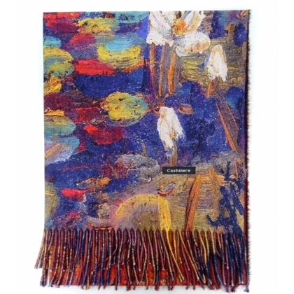 Дамски шал, Водни лилии, Кашмир, Двустранен, Картини, 0232-1