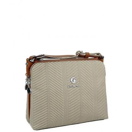 Дамска чанта от еко кожа с кафяви дръжки