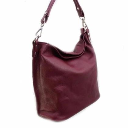 Дамска мека кожена торба, Бордо, 11933-4