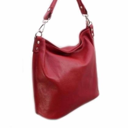 Мека кожена чанта тип торба, Червена, 11933-5