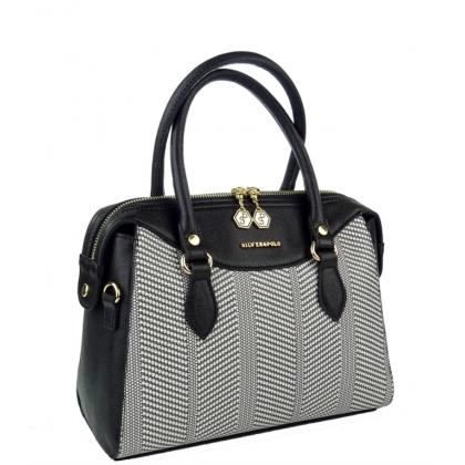 Дамска чанта от еко кожа и плат 995-1