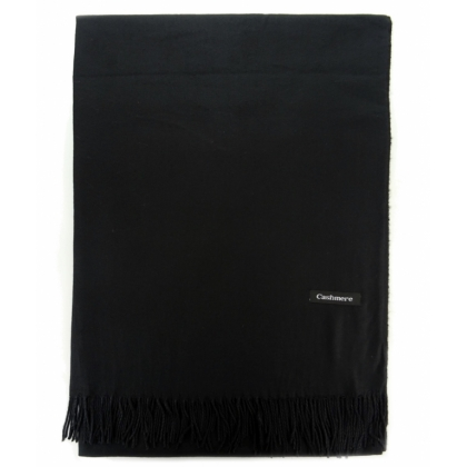 Едноцветен черен шал, Кашмир, 2019-10