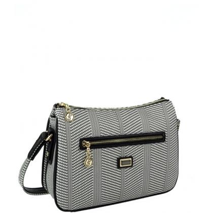 Дамска чанта Silver Polo от еко кожа, пепит