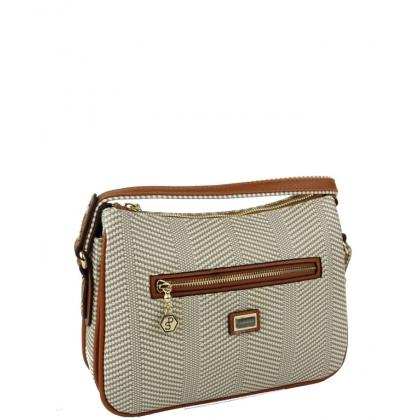 Дамска чанта от еко кожа в бежово, пепит 818-2