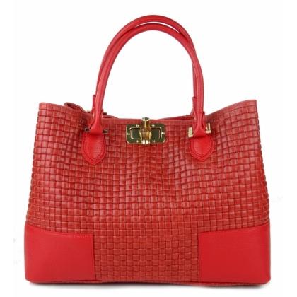 Червена дамска чанта, Естествена кожа, Плетена кожа, 1018-2