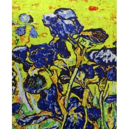 Вълнен дамски шал, Двулицев, На цветя, Ириси, 5040