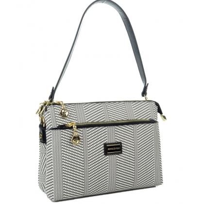 Дамска чанта от еко кожа с десен пепит 944