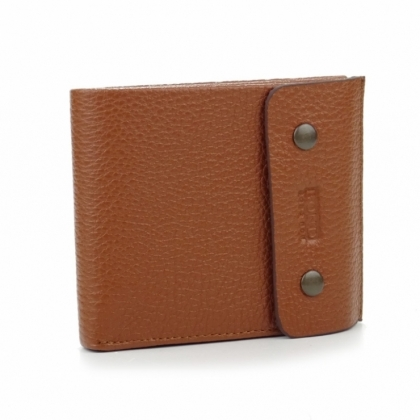 Правоъгълен кожен портфейл с копче, Кафяв, 514-1