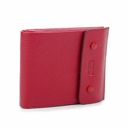Червено кожено портмоне, С копче, 514-2