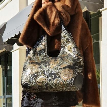 Уникална дамска чанта, Черна на цветя, 3293-5