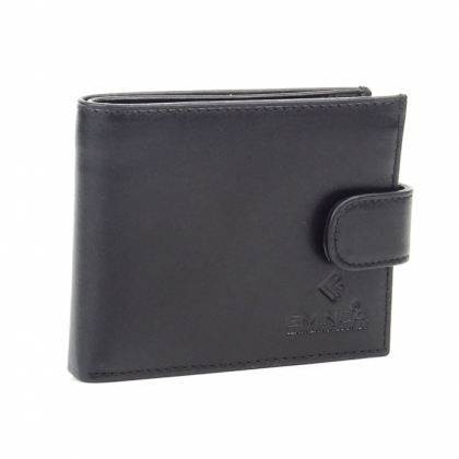 Мъжки кожен портфейл, Гладка кожа, С копче, Черен, 1041-1