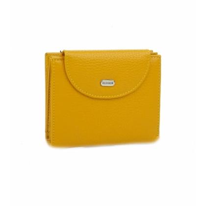 Жълто дамско портмоне, Кожено, Монетник с цип, 755-2