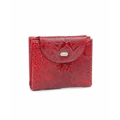Червен малък портфейл, Змийски, Монетник с цип, 755-5