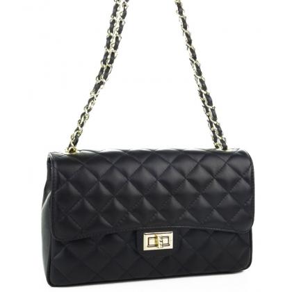 Дамска чанта на баклавички от естествена кожа