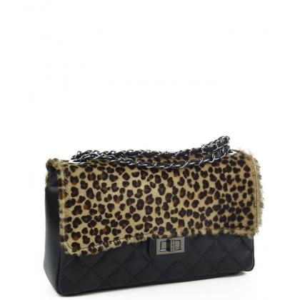 Чанта от естествена кожа с косъм пони, Леопардов принт, 4326