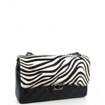 Чанта с капак с естествен косъм 4326-1