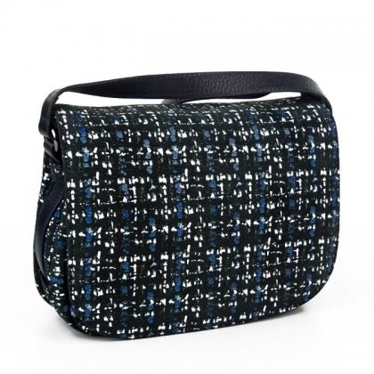 Чанта от естествена кожа с ефектен принт, Туийд,  4847-5