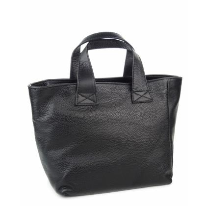 Черна кожена чанта, Трапец, Елегантна, 0912