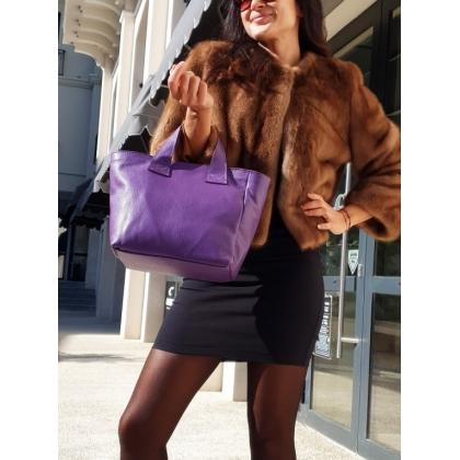 Лилава дамска чанта, Естествена кожа, 0912-1