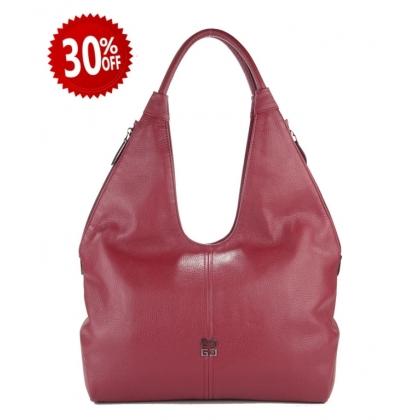 Голяма кожена чанта, Бордо 3293G-5