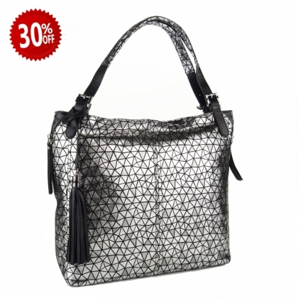 Стилна дамска чанта, Черно и Сребро,1243-9