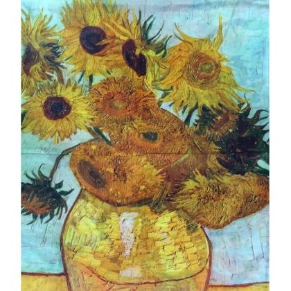 Шал картина Ваза със слънчогледи