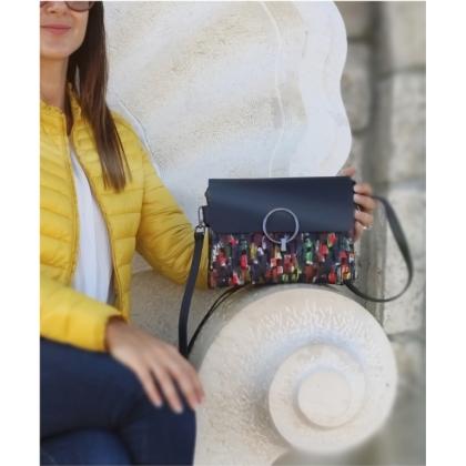 Дамска чанта от естествена кожа за през рамо, С капак, Тъмносиня, 781