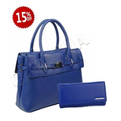 Дамски подаръчен комплект от чанта и портфейл, Кралско Синьо, 219К-2