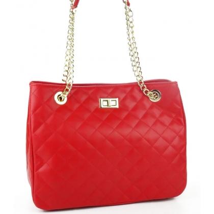 Червена кожена чанта с капитониран дизайн 1289