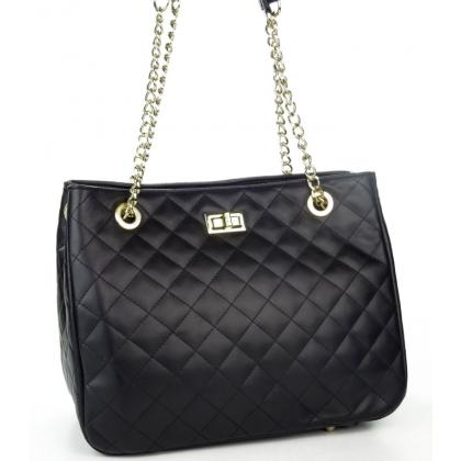Дамска кожена чанта с капитониран дизайн 1289-1