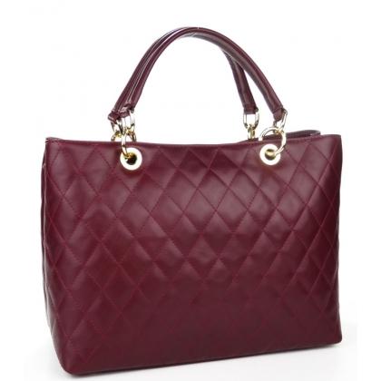 Чанта от естествена кожа на вафлички