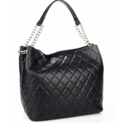 Кожена чанта със една дръжка в черно 3287