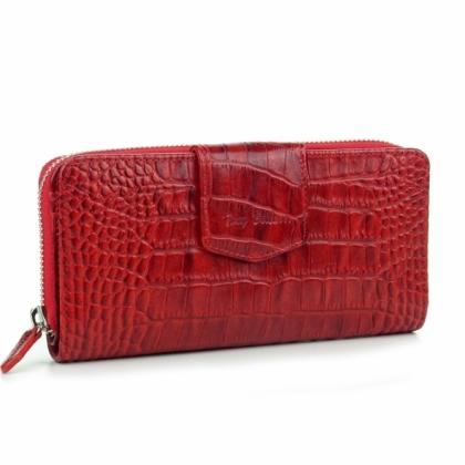 Червен дамски портфейл