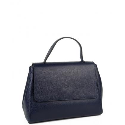 Тъмносиня дамска чанта от естествена кожа 2924-1