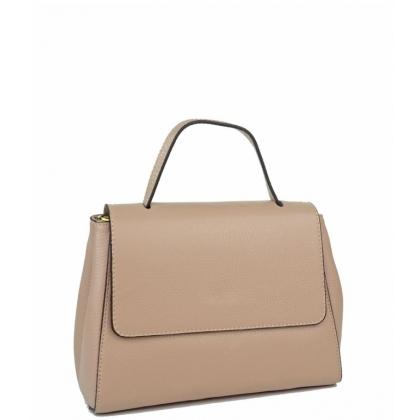 Дамска чанта от естествена кожа, цвят пудра 2924-2
