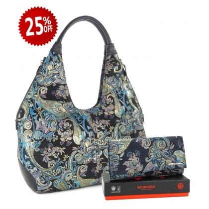 Подаръчен комплект за Жена, Голяма кожена чанта с портмоне, 097К-1