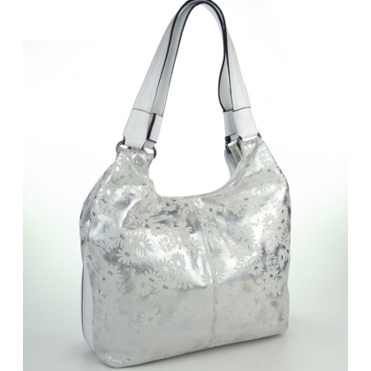 Бяла кожена чанта с сребристи оттенъци